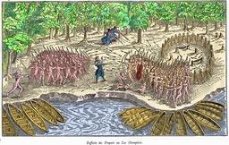 Bataille contre les Yroquois au Lac Champlain.. Source : http://data.abuledu.org/URI/565718ba-bataille-contre-les-yroquois-au-lac-champlain-