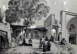 Bazar et entrée de mosquée à Casbin en Iran en 1840. Source : http://data.abuledu.org/URI/53dfc1da-bazar-et-entree-de-mosquee-a-casbin-en-iran-en-1840