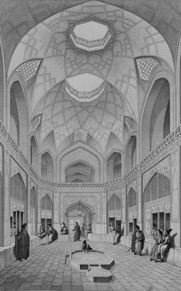 Bazar Haji Seid Hussein à Cachan en 1840. Source : http://data.abuledu.org/URI/56522696-bazar-haji-seid-hussein-a-cachan-en-1840