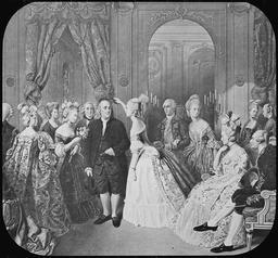 Benjamin Franklin à la Cour. Source : http://data.abuledu.org/URI/50e361eb-benjamin-franklin-a-la-cour