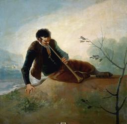 Berger espagnol jouant de la Dulzaina en 1786. Source : http://data.abuledu.org/URI/5332accc-berger-espagnol-jouant-de-la-dulzaina-en-1786