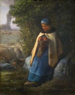 Bergère tricotant. Source : http://data.abuledu.org/URI/505e2b2d-bergere-tricotant