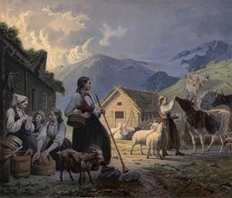 Bergerie en Norvège en 1858. Source : http://data.abuledu.org/URI/536800de-bergerie-en-norvege-en-1858
