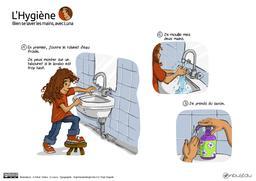 Bien se laver les mains avec Luna (1). Source : http://data.abuledu.org/URI/5800ecc8-bien-se-laver-les-mains-avec-luna-1-