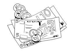 Billets et pièces de monnaie. Source : http://data.abuledu.org/URI/502501c8-billets-et-pieces-de-monnaie