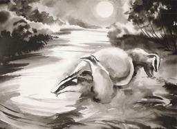 Blaireaux sur les bords du canal des Landes. Source : http://data.abuledu.org/URI/5874be48-blaireaux-sur-les-bords-du-canal-des-landes