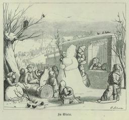 Bonhomme de neige entouré d'enfants. Source : http://data.abuledu.org/URI/503d3442-bonhomme-de-neige-entoure-d-enfants