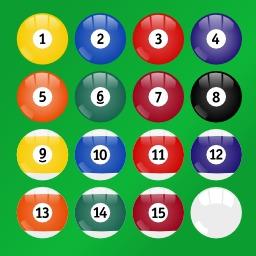 Boules de billard de 1 à 15. Source : http://data.abuledu.org/URI/520bf82c-boules-de-billard-de-1-a-15