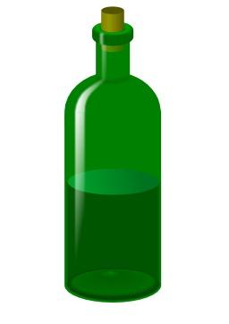 Bouteille en verre à moitié pleine. Source : http://data.abuledu.org/URI/53ccfd20-bouteille-en-verre-a-moitie-pleine