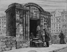 Boutique sur le Pont-Neuf en 1848. Source : http://data.abuledu.org/URI/56c8eea8-boutique-sur-le-pont-neuf-en-1848