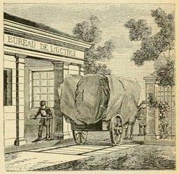 Bureau de l'octroi au XIXème siècle. Source : http://data.abuledu.org/URI/524d8db2-bureau-de-l-octroi-au-xixeme-siecle