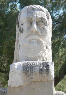Buste d'Hérodote dans le château de Bodrum. Source : http://data.abuledu.org/URI/53b3ded6-buste-d-herodote-dans-le-chateau-de-bodrum