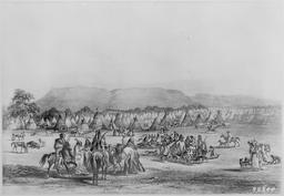 Campement indien en 1833. Source : http://data.abuledu.org/URI/53b94598-campement-indien-en-1833