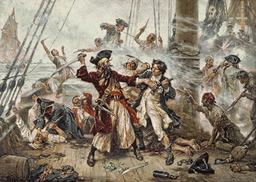 Capture du pirate Barbe-Noire. Source : http://data.abuledu.org/URI/52c006ae-capture-du-pirate-barbe-noire