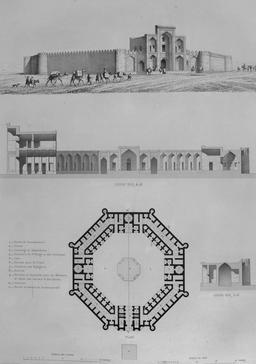 Caravansérail d'Amin Abad en 1840. Source : http://data.abuledu.org/URI/565225c7-caravanserail-d-amin-abad-en-1840