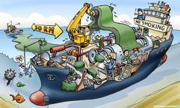 Caricature d'un navire collecteur de tapis d'algues. Source : http://data.abuledu.org/URI/50c858be-caricature-d-un-navire-collecteur-dde-tapis-d-algues