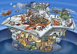 Caricature d'un porte-avions. Source : http://data.abuledu.org/URI/50c8553a-caricature-d-un-porte-avions