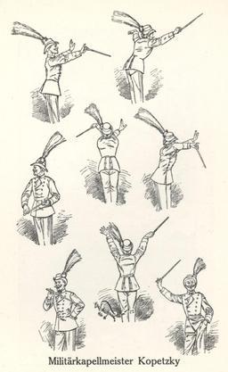 Caricature de chef de musique militaire il y a cent ans. Source : http://data.abuledu.org/URI/54bbd46c-caricature-de-chef-de-musique-militaire-il-y-a-cent-ans