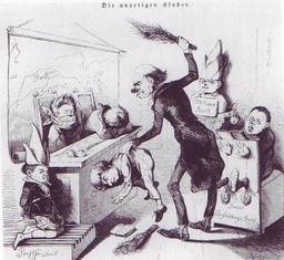 Caricature politique du maître d'antan. Source : http://data.abuledu.org/URI/50fc85e9-caricature-politique-du-maitre-d-antan