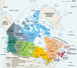 Carte administrative du Canada. Source : http://data.abuledu.org/URI/5115384d-carte-administrative-du-canada