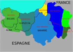 Carte ancienne des dialectes basques. Source : http://data.abuledu.org/URI/52bc7bb6-carte-ancienne-des-dialectes-basques