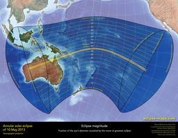 Carte de l'éclipse annulaire du 10 mai 2013. Source : http://data.abuledu.org/URI/550ccbae-carte-annulaire-de-l-eclipse-du-10-mai-2013