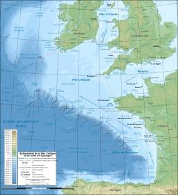 Carte bathymétrique du golfe de Gascogne. Source : http://data.abuledu.org/URI/50ed4e3e-carte-bathymetrique-du-golfe-de-gascogne