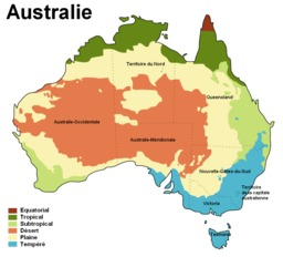 Carte climatique de l'Australie. Source : http://data.abuledu.org/URI/50e2aba7-carte-climatique-de-l-australie