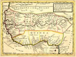 Carte de l'Afrique de l'Ouest en 1736. Source : http://data.abuledu.org/URI/52d04f25-carte-de-l-afrique-de-l-ouest-en-1736