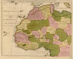 Carte de l'Afrique du Nord-Ouest en 1707. Source : http://data.abuledu.org/URI/52d04e1b-carte-de-l-afrique-du-nord-ouest-en-1707