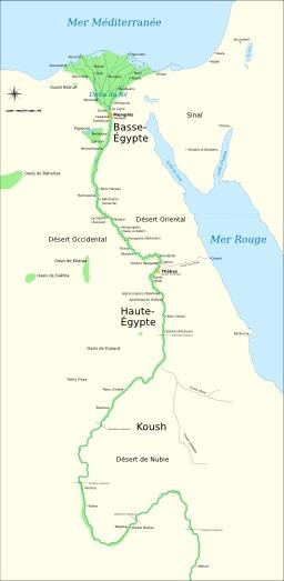 Carte de l'ancienne Egypte. Source : http://data.abuledu.org/URI/51f30a97-carte-de-l-ancienne-egypte