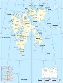Carte de l'archipel du Svalbard en Norvège. Source : http://data.abuledu.org/URI/5209c5fc-carte-de-l-archipel-du-svalbard-en-norvege