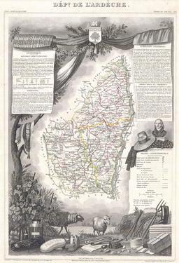 Carte de l'Ardèche en 1847. Source : http://data.abuledu.org/URI/531ca150-carte-de-l-ardeche-en-1847