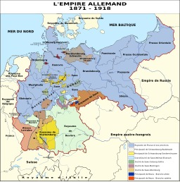 Carte de l'empire allemand de 1871 à 1918. Source : http://data.abuledu.org/URI/51cddc05-carte-de-l-empire-allemand-de-1871-a-1918