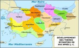 Carte de l'empire byzantin en 950. Source : http://data.abuledu.org/URI/548d7e87-carte-de-l-empire-byzantin-en-950