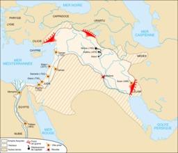 Carte de l'Empire néo-assyrien. Source : http://data.abuledu.org/URI/508fb95e-carte-de-l-empire-neo-assyrien