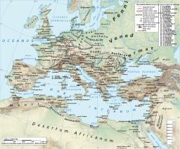 Carte de l'empire romain sous Hadrien. Source : http://data.abuledu.org/URI/54a2e94a-carte-de-l-empire-romain-sous-hadrien