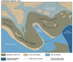Carte de l'Europe au Carbonifère. Source : http://data.abuledu.org/URI/506be080-carte-de-l-europe-au-carbonifere