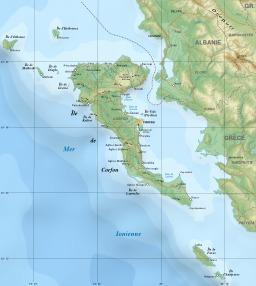 Carte de l'île de Corfou. Source : http://data.abuledu.org/URI/508852f1-carte-de-l-ile-de-corfou