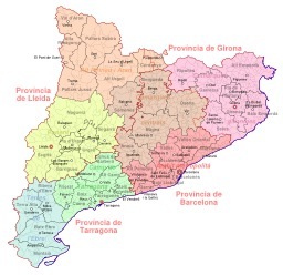 Carte de l'organisation administrative de Catalogne. Source : http://data.abuledu.org/URI/54359e52-carte-de-l-organisation-administrative-de-catalogne