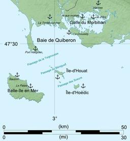 Carte de la baie de Quiberon. Source : http://data.abuledu.org/URI/518a4cce-carte-de-la-baie-de-quiberon