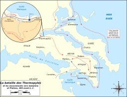 Carte de la bataille des Thermopyles. Source : http://data.abuledu.org/URI/508fc5da-carte-de-la-bataille-des-thermopyles