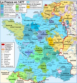 Carte de la France en 1477. Source : http://data.abuledu.org/URI/52d00173-carte-de-la-france-en-1477