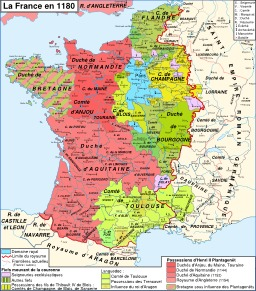 Carte de la France et du Domaine royal en 1180. Source : http://data.abuledu.org/URI/52d00e2e-carte-de-la-france-et-du-domaine-royal-en-1180