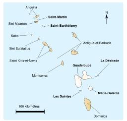 Carte de la Guadeloupe et des îles proches. Source : http://data.abuledu.org/URI/50773287-carte-de-la-guadeloupe-et-des-iles-proches
