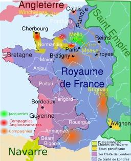 Carte de la guerre de cent ans : Jean le Bon. Source : http://data.abuledu.org/URI/50708bf9-carte-de-la-guerre-de-cent-ans-jean-le-bon