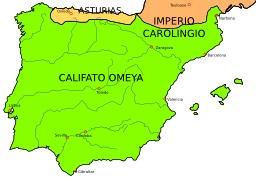 Carte de la péninsule ibérique en 750. Source : http://data.abuledu.org/URI/5068a730-carte-de-la-peninsule-iberique-en-750