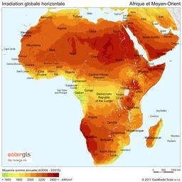 Carte de la Radiation Solaire pour l'Afrique et Moyen-Orient en 2011. Source : http://data.abuledu.org/URI/56c327ff-carte-de-la-radiation-solaire-pour-l-afrique-et-moyen-orient-en-2011