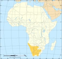Carte de répartition du suricate en Afrique. Source : http://data.abuledu.org/URI/565d3f85-carte-de-repartition-du-suricate-en-afrique