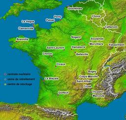 Carte des centrales nucléaires en France. Source : http://data.abuledu.org/URI/5208941c-carte-des-centrales-nucleaires-en-france